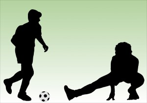 soccer players bw